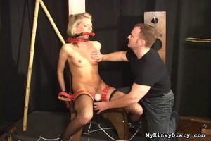 Blonde's First Bondage Session [Eng]