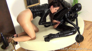 Rubber Girls, Finger, Dildo, Breath Control Hood Part Four [Eng]
