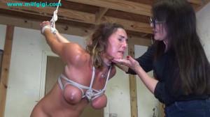 Naked strappado in the garage [2021,Bondage,Rope,BDSM][Eng]
