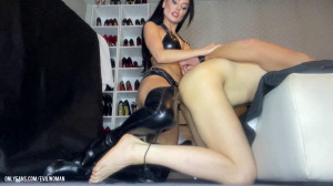Evil woman brutal mouth fucking and peging on my slave [2021,Evil woman,femdom,Bondage,BDSM][Eng]