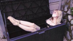 Box Bondage Big-Boobed Babe Bound in Silky Slip Outdoors [Eng]