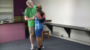 Crystal Frost - Secretary in a blue latex dress, collared, leashed and trained [2021,BDSM,Bondage,Rope][Eng]