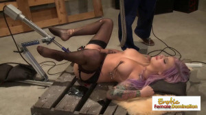 Horny tattooed chick enjoys getting banged with big dildos [Eng]