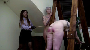 Amy and Gemma caned on the A frame [2021,BDSM][Eng]
