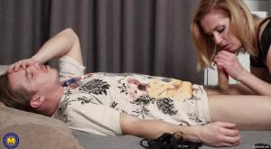 My dominate stepmom cuaght me jerking off [Alika Alba (42),Cum,BDSM,Shaved][Eng]