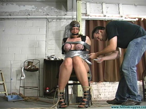 Karin Sin ChairTaped, Breasts Taped, PoleTied, Crotchroped [2020, post/pole/tree tied,Breast bondage, Tape Bondage][Eng]