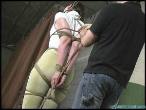 Blue - Equestrian disciplined with tight bondage and a Tighter gag - Part 1 [Eng]