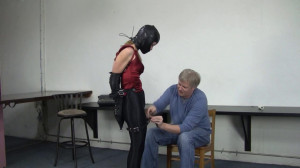 Madalynn Raye - Leather Hooded Secretary Bound in Disco Jeans [2021,Bondage,BDSM,Rope][Eng]