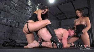 Muscle Guy Destroyed By Alina Lopez and Ariana Marie [2018,Alina Lopez,Pegging,Threesome,Femdom][Eng]