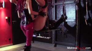 Strap-on fuck and milking on the swing [Eng]