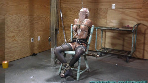 Thighs Spread Chair Tie for Amanda Fox - Part 3 [2019, nose clamp, breast torture, nipple clamps][Eng]