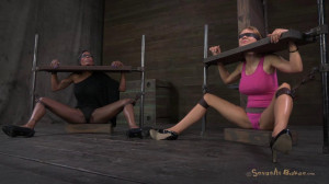 Sexy blond, with long legs, gets brutally throat fucked by two cocks [2018,SB,Cool Girl,BDSM][Eng]