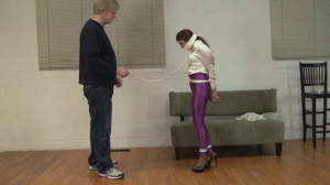 Gianna Love - Purple Disco Jeans High Heel Training [2021,Bondage,BDSM,Rope][Eng]