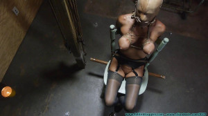 Thighs Spread Chair Tie for Amanda Fox - Part 1 [2019, chairtied,Blondes, hooded][Eng]