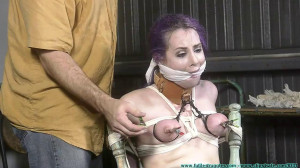 Fiona's First Shoot - Part 3 [2019,ballgag, breast torture, garter and stockings][Eng]
