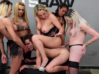 Fellow Gang-fucked by 5 Transsexual Starlets