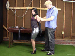 Michelle Petite - Leather strap hogtie in the warehouse
