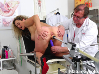 Anal cork examination of big-chested Cougar Ameli Monk