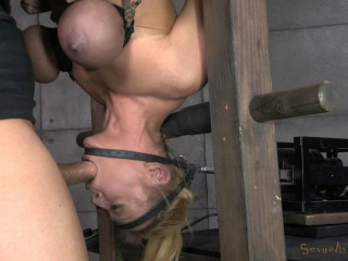 Blond bimbo, inverted with automatic cocksucking machine! Brutal deepthroat