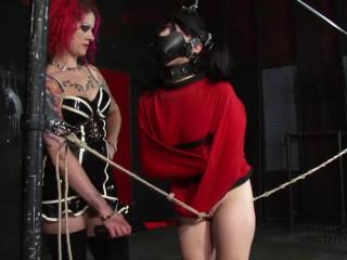 Extreme bondage, domination, torture and strappado for young slut