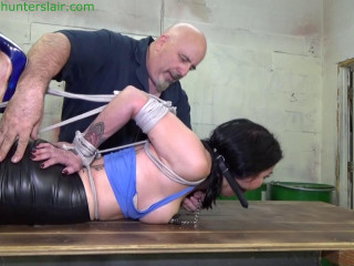 HunterSlair - Raven Eve - Chicken wing hogtied with weighted nipple clamps