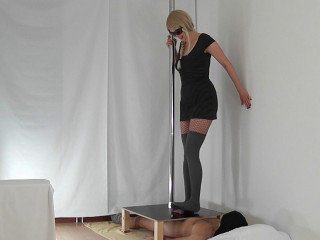 Cock Destruction Under Grey Overknee Stockings