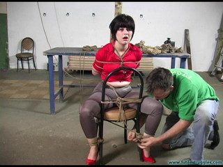 Breast Bondage, ring gag and a Tight crotchrope for Alison - Part 1