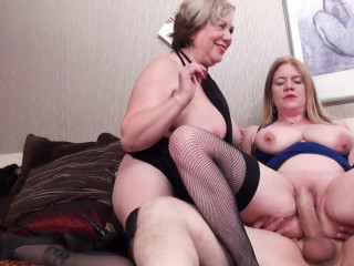 2 Dirty Old Grannies Suck and Fuck Toyboy