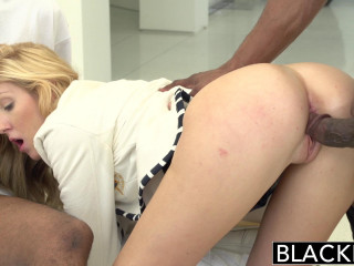 Stylish Pretty Blonde With Two Black Guys