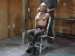Thighs Stretched Tabouret Tie for Amanda Fox 1 part - BDSM, Humiliation, Torment HD-720p