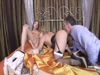 Enthralling maid love threesome fun with her manager and damsel