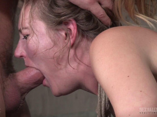 Stool strapped and aggressively dual fucked, Spurting bellowing deepthroat!