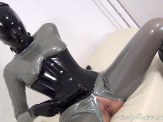 Dildo Fuck With Heavy Rubber Helmet, Inflatable Gag Part Three