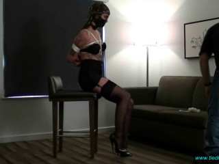 Muzzled and Roped in a Girdle, Stockings and SuperArch Heels!