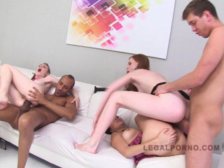 Perfect young babes in triple stacked gangbang