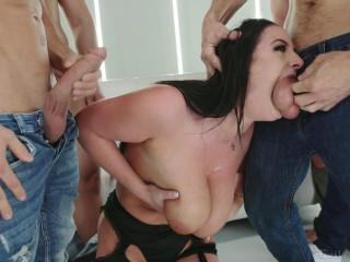 Bukkake Blowbang For Sexy Busty Milf Angela White