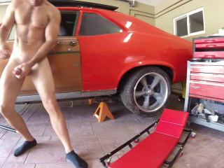 Garage stroke and cum 720p