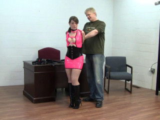 Elizabeth Andrews: Secretary strapped up in a tight latex dress and boots