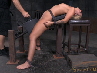 Mind-blowing blond Madelyn Monroe bound on a sybain and utterly ruined by dick! Violent deepthroat!
