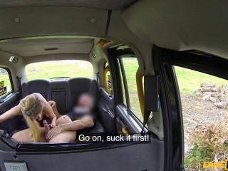 Busty blonde MILF fucks taxi cock