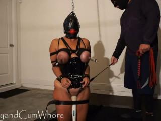 Hard bondage, spanking and torture for naked slavegirl