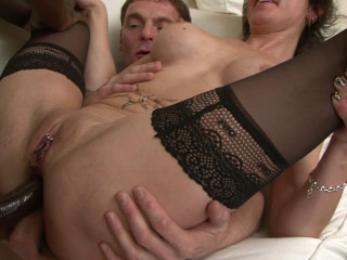 Taking two large cocks in her ass with no problem