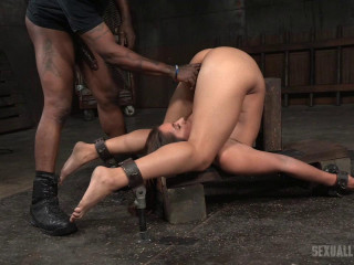 Big-titted star Big black cock pulverized tied in a rigorous piledriver