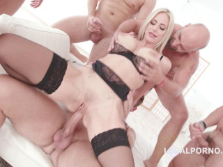Seven on one Dap gangbang Natalie Cherie Gapes Swallows (2018)