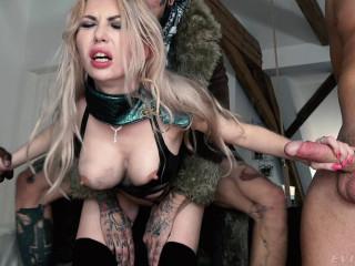 Gorgeous Blonde Isabella Clark Enjoys an Interracial Gang Bang