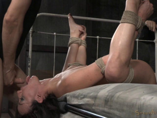 Ankles tied to wrists and fucked