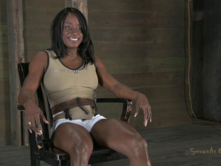 Muscle ebony slave bound, skull nailed & made to jizz