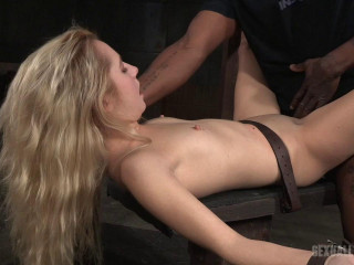 Trussed down and harshly banged by humungous ebony rod