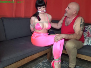 Busty heiress kept contorted, bound & gagged by her creepy