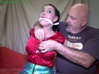 Sexy tattoo'd MILF breast bound, hogtied,  orgasms